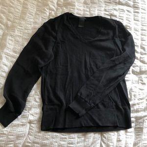 ANN TAYLOR Black Long-Sleeve Blouse